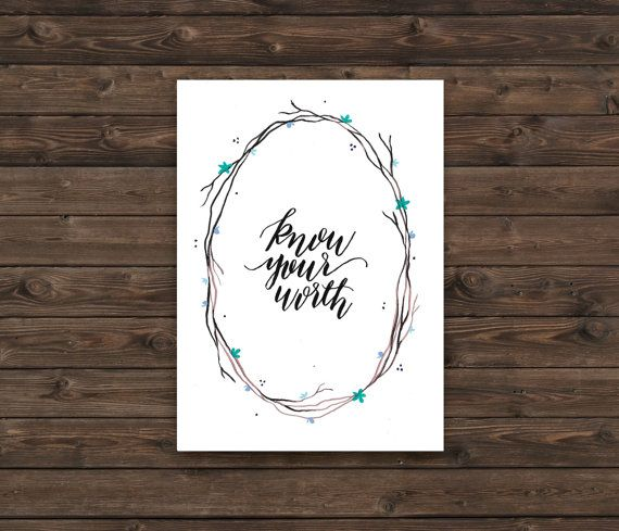 Hey, I found this really awesome Etsy listing at https://www.etsy.com/ca/listing/271132793/know-your-worth-script-watercolor-wreath