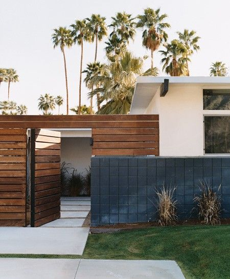 horizontal fencing - Iron, Concrete + Wood Exterior | House & Home