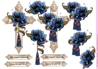 Cross and Autumn Roses on Craftsuprint designed by Marijke Kok - Beautiful cross…