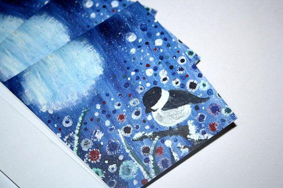 Set Of Five Yuletide Cards Winter Landscape Christmas Yule