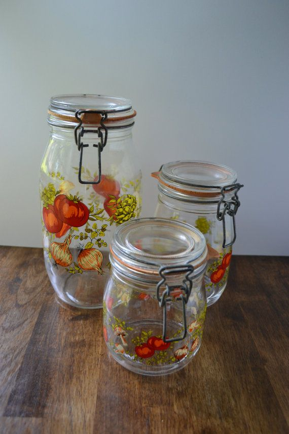 French Country Kitchen! Vintage Glass Canister/Set Of 3
