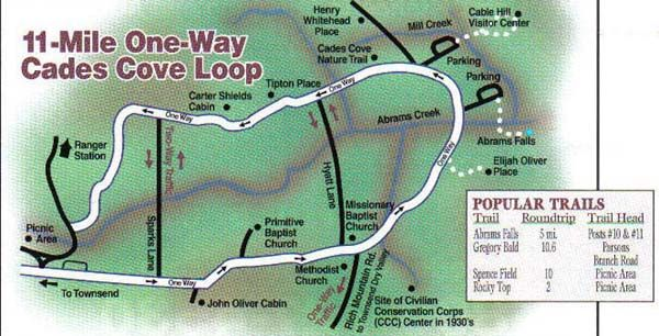 "Cades Cove Loop Map- Circle of History Homesteads, Grist Mills, Churches, & Pioneer Way of Life. Can Spend Entire Day Inside Cove & Not experience it all. 18 ""must stops"" on Cove Loop. CADES COVE IS MOST VISITED PART OF GREAT SMOKEY MOUNTAINS NATIONAL PARK!"