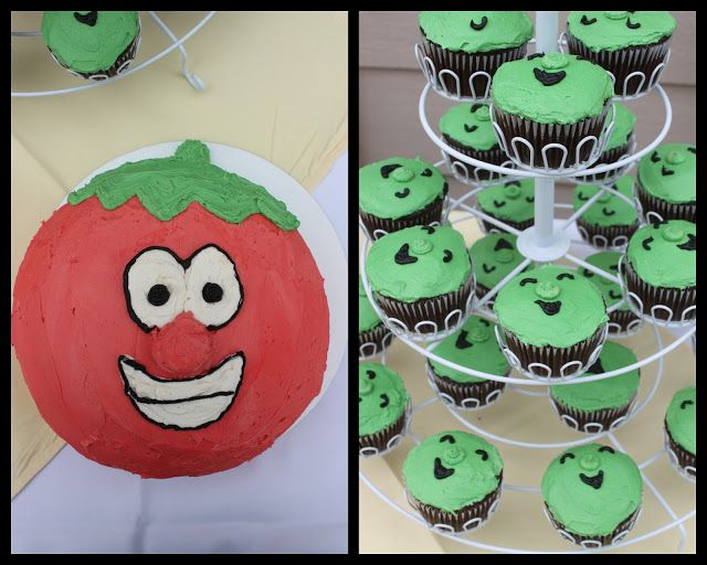 Veggie Tales cake and cupcakes by sweet things by eh.  sweetthingsbyeh.com https://www.facebook.com/SweetThingsByEh