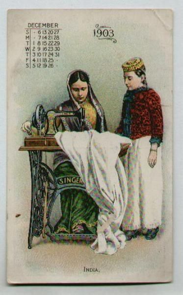 SINGER, India Vintage Sewing Machine Victorian Card