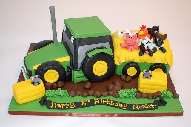 The John Deere tractor and trailer cake.