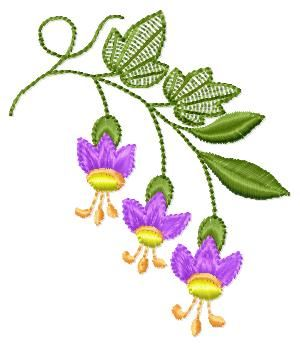"Free embroidery design ""Campanula"", four colours , dimensions 78,7 mm x 67,6 mm…"