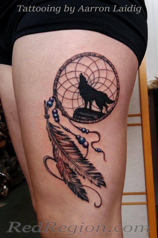 Dreamcatcher with wolf tattoo