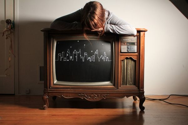 Chalkboard painted TV. Make your own cartoons.