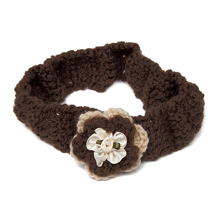 Lovely handmade elasticated crochet headband in brown with crochet flower center piece.  Check out this page now