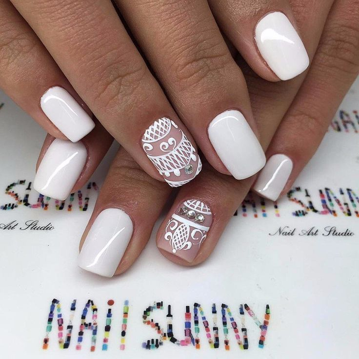 Beautiful wedding nails, Bridal nails, January nails, ring finger nails, Wedding gel nails, Wedding nails 2016, Wedding nails ideas, White nail art