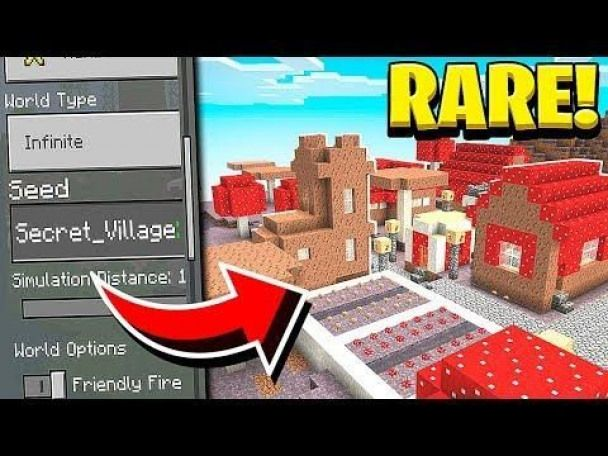 Rare Mushroom Village Seed In Minecraft Pocket Edition Ps4 Xbox Pc Switch Seeds Semillas Seeds In 2020 Amazing Minecraft Minecraft Ps4 Minecraft Crafts