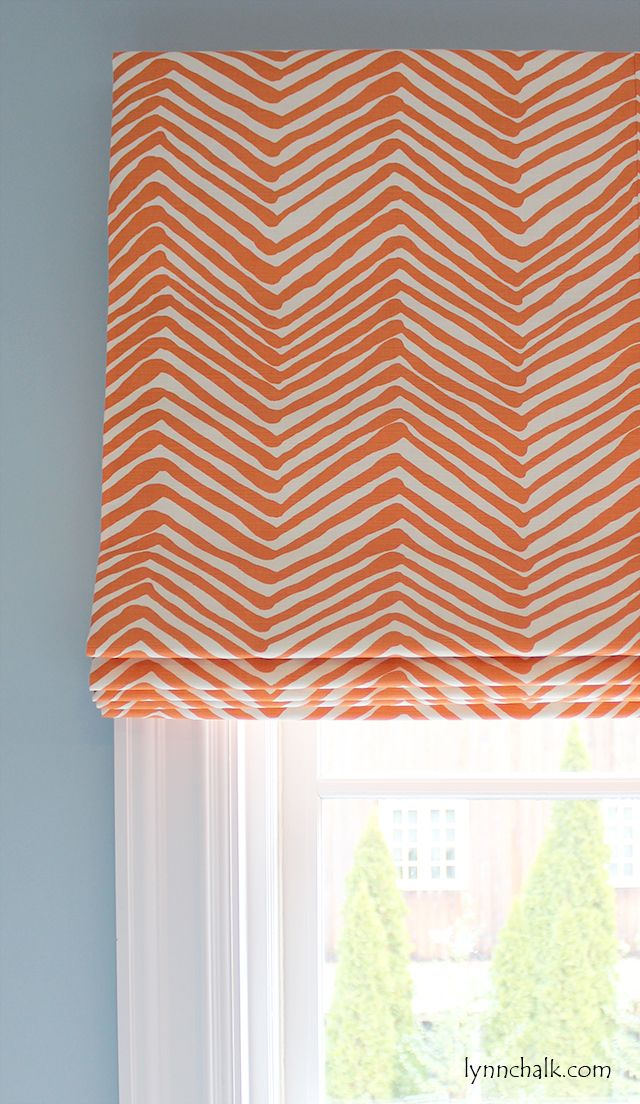 Custom Roman Shade by Lynn Chalk in Quadrille Alan Campbell Zig Zag (shown in Orange-Comes in 15 Colors) , $550.00 (http://store.lynnchalk.com/quadrille-alan-campbell-zig-zag-roman-shade-shown-in-orange-comes-in-15-colors/)
