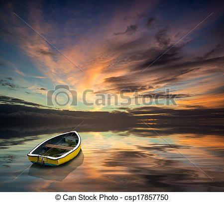 verbazend, vibrant, blauwe, roze, Winter, Hemel, enkel, scheepje, Zwevend, oceaan - csp17857750