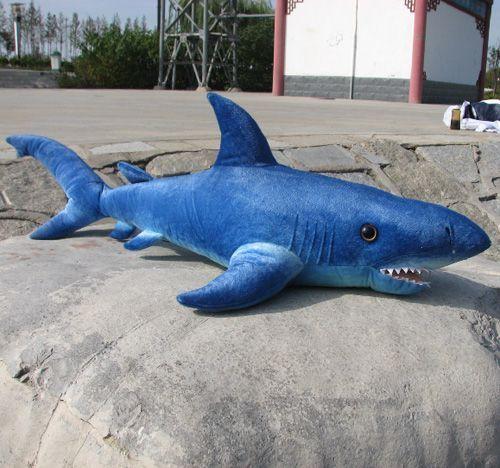 Plush Emulational Blue Shark Stuffed Sea Life Animal Toy Gift Back Cushion Decorationat EVToys.com