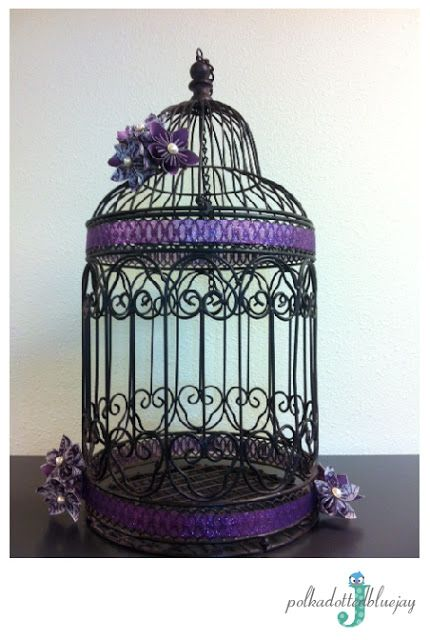 Purple Birdcage Card Holder #wedding #babyshower #birdcage