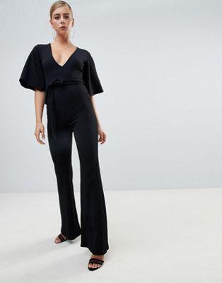 78e27d31c563 Missguided kimono sleeve plunge jumpsuit in black