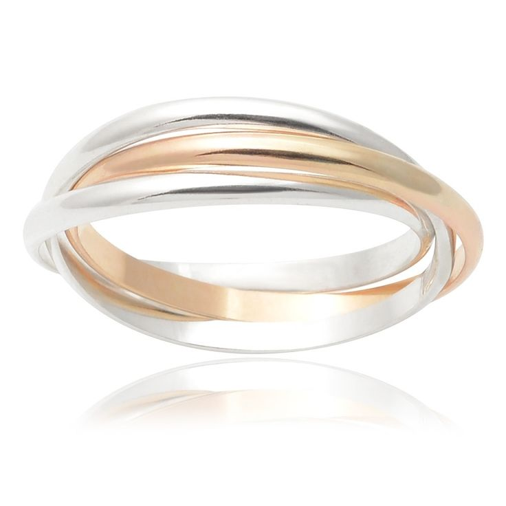 Journee Collection Sterling Silver Handmade Three-band Rolling Ring