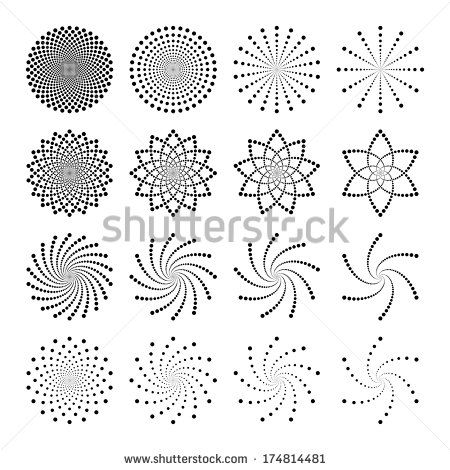 Vector Set Of Dot Shapes Laser Dot Art Painting