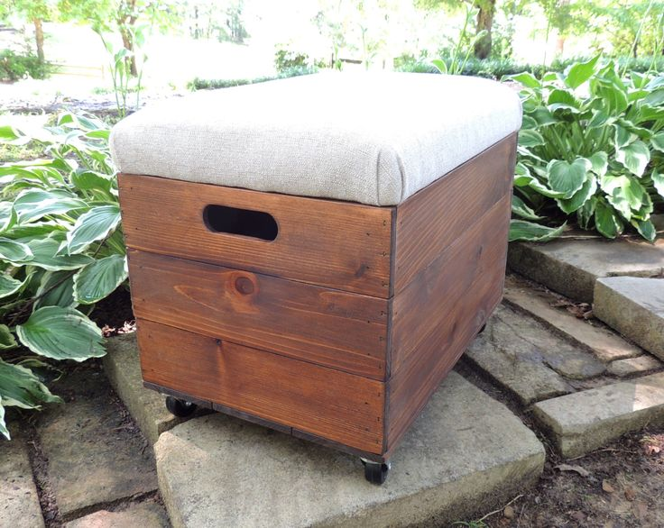 Rustic Cedar Wooden Crate With Casters, Ottoman, Foot Stool, Seat, File  Storage