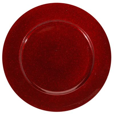 Rood onderzet bord met glitters. Het onderzet bord met rode glitters heeft een diameter van ongeveer 33 cm.