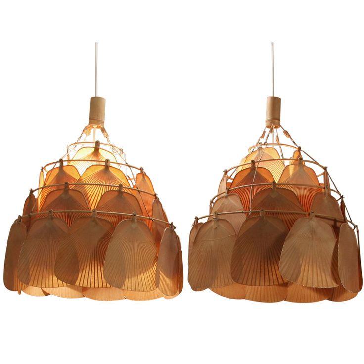 Pair Large Uchiwa Fan Lamps by Ingo Maurer