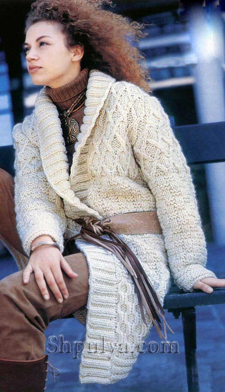 www.SHPULYA.com - Белое пальто фантазийным узором с шалевым воротником