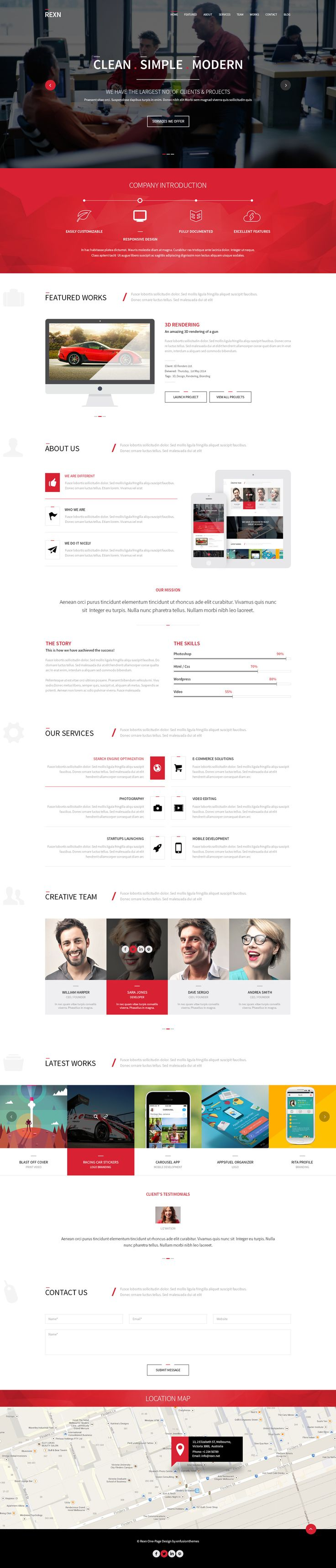 Rexn is an amazing #Responsive One Page Multipurpose #Parallax #template. This Template is Suited for any type of #website, #personal or business use.