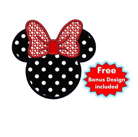 applique minnie mouse bow plus free design  instant download machine embroidery design  4x4 5x7
