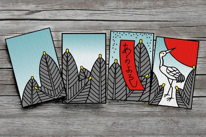 HANAFUDA Cards by Jacob Bedford - Kickstarter.  January - Pine (Matsu)