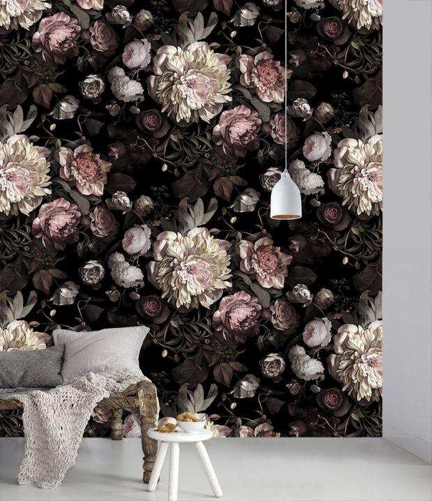 10 Favorite Designer Wallpapers | The Wonder in Us | *NEW* 'Dark Floral II' Wallpaper by Ellie Cashman