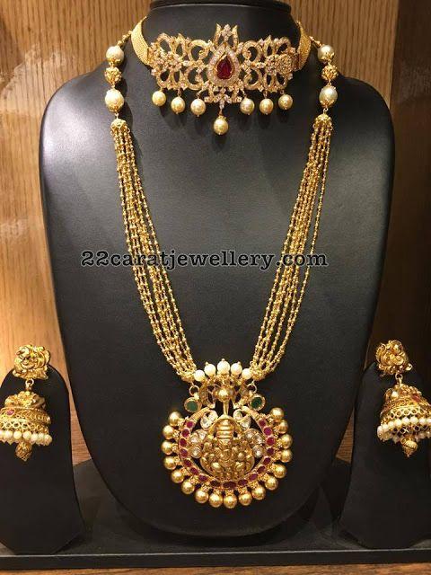 Small Gold Swirls Long Chain - Jewellery Designs