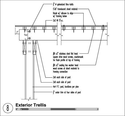 Minimalist Trellis Construction Details Steel Pergola