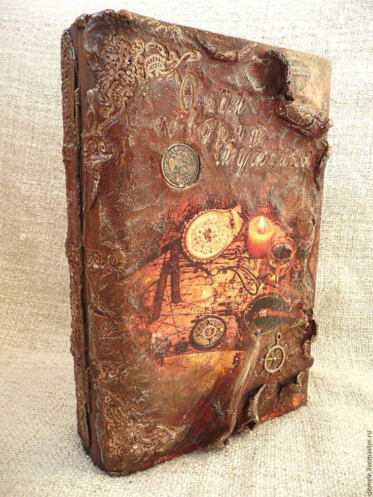 """Купить Шкатулка-книга старинный фолиант """"О чем говорят мужчины """" - коричневый"""