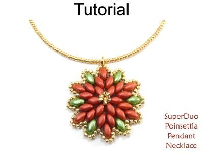 Beaded SuperDuo Poinsettia Necklace Christmas Holiday Beading Pattern Tutorial by Simple Bead Patterns #cbloggers #beadlove #jewelrymaking