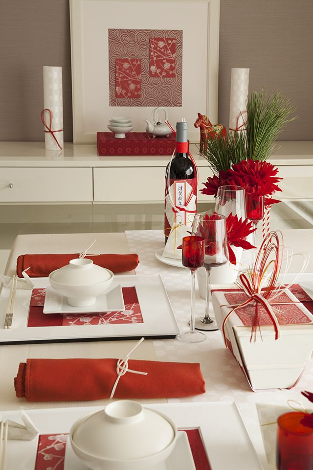 japanese new year table setting.