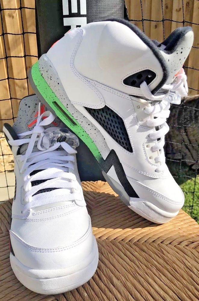 71e7b36f66a2a6 Nike Air Jordan 5 Retro Pro Stars White  Infrared  Light Poison Green Size  6.5