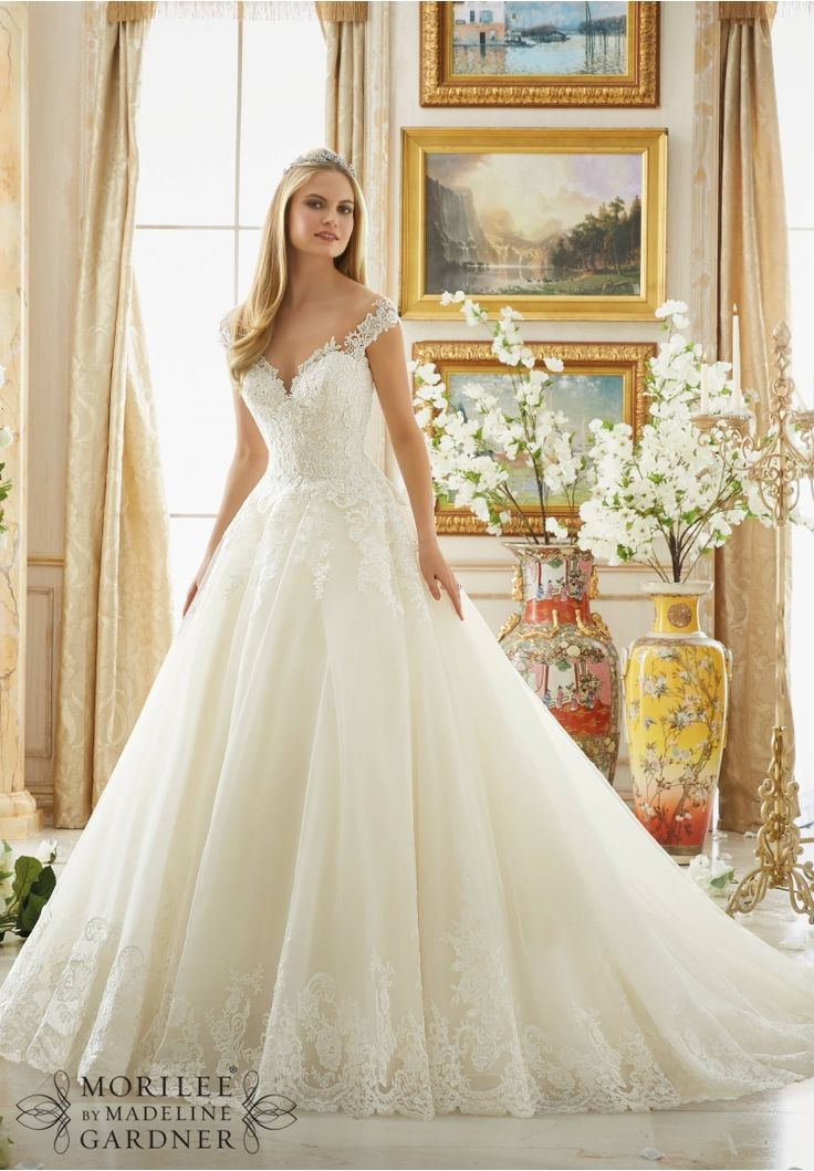 Lovely Wedding Dresses and Wedding Gowns by Morilee featuring Frosted Beading on Alencon Lace with Wide Scalloped