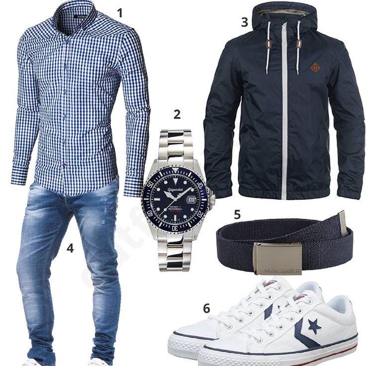 Herren-Outfit mit kariertem Moderno Hemd, blauem Solid Jacke, Gigandet Automatikuhr, Leif Nelson Jeans, Stoffgürtel und Converse Sneakern.