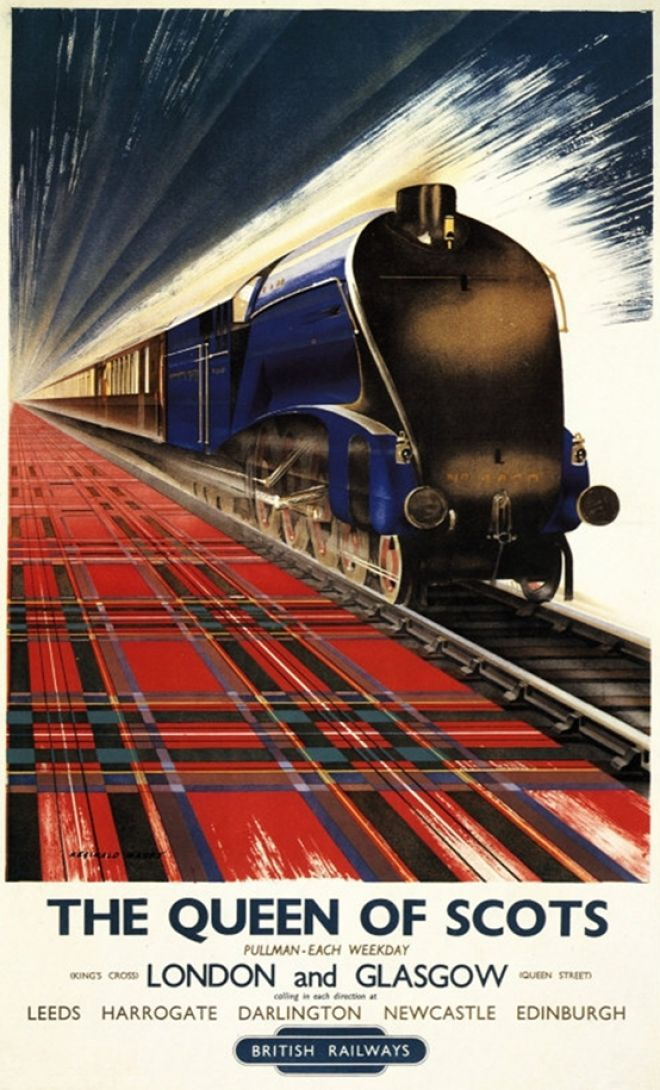 The Queen of Scots ~ London & Glasgow:  Leeds, Harrogate, Darlington, Newcastle, Edinburgh  Great Britain British Railway    Pullman Trains http://www.vintageadbrowser.com/search?q=Britain