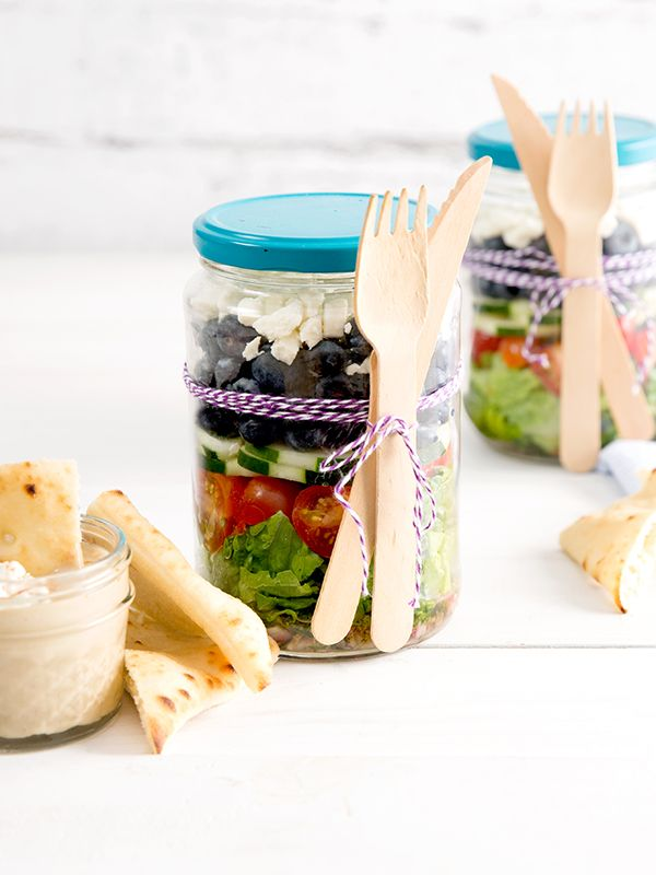 Bring your Greek salad game to the next level with fresh blueberries and served in an adorable jar so you can bring it anywhere (AKA show it off to your friends and coworkers).