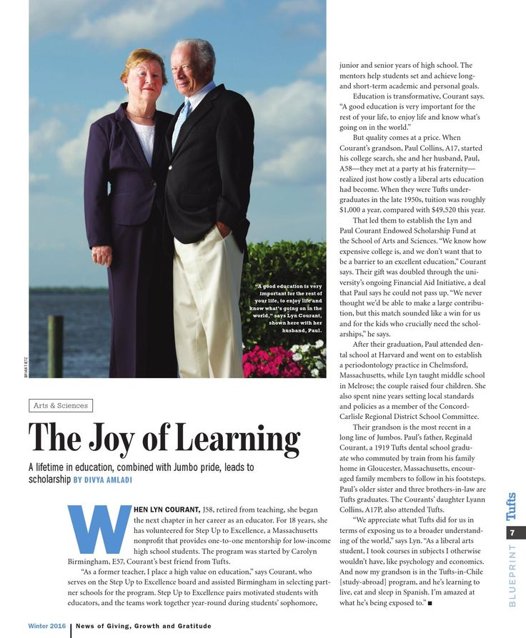 Inspirational article about education and giving back. I'm very proud of my parents, Lyn & Paul Courant. Go Jumbos! https://issuu.com/tuadvcomm/docs/winter_2016_blueprint/7?e=0