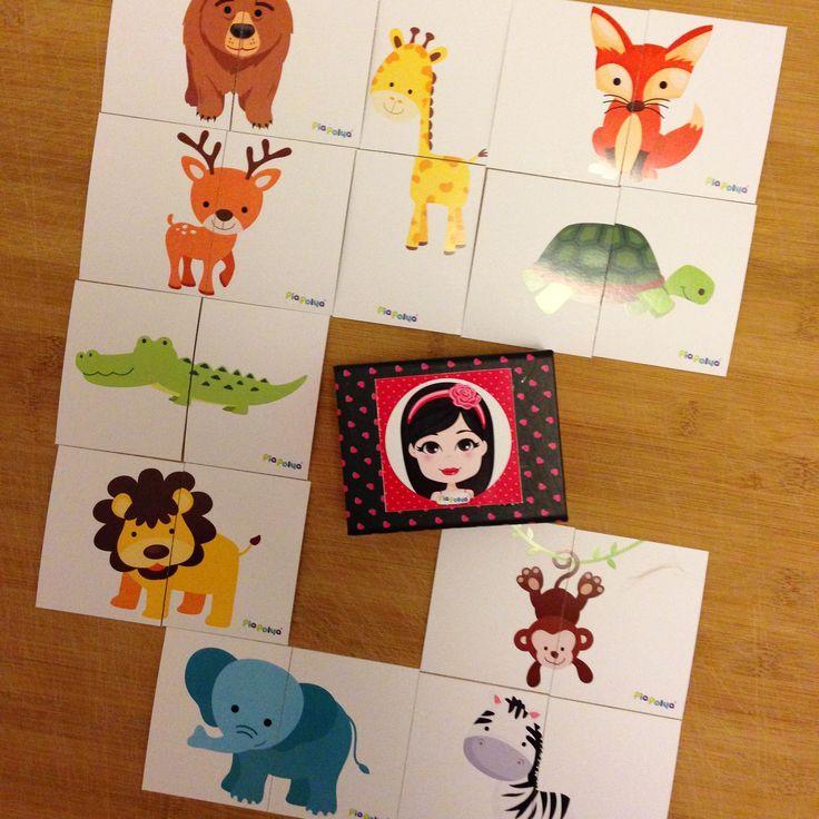 Pia Polya İki Parçalı Orman Hayvan Görsellerini Tamamlama Kartları 18 ay ve 36 ay çocuklar içindir. A3