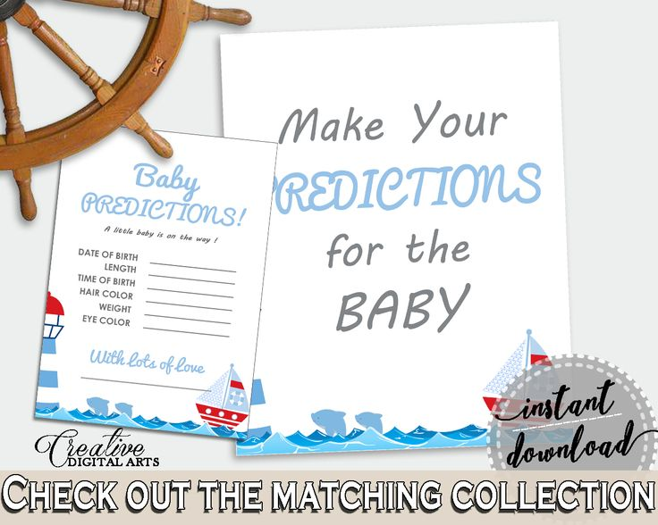 Baby Predictions Baby Shower Baby Predictions Nautical Baby Shower Baby Predictions Baby Shower Nautical Baby Predictions Blue Red DHTQT #babyshowergames #babyshower