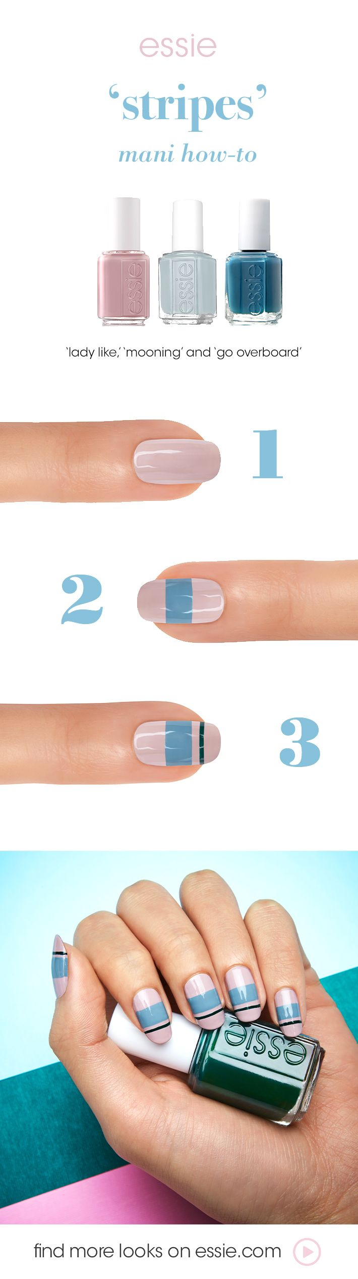this beautiful nail art will get you ready for anything. with a creamy mauve nail color topped with a nude blue nail shade and a hint of fabulous teal, you'll sail through the day with style! featured: essie lady like, mooning, and go overboard