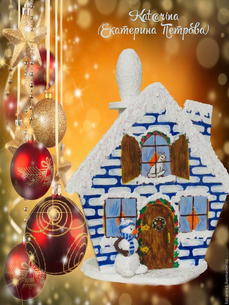 """Купить Держатель для бумажных полотенец""""Домик"""" дерево, белый синий красный - коралловый, для кухни, декор интерьера"""
