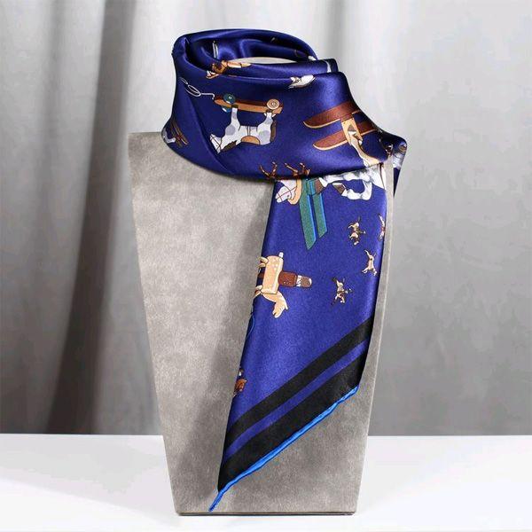 Rolled Edge Blue Silk Scarf Merry Go Round