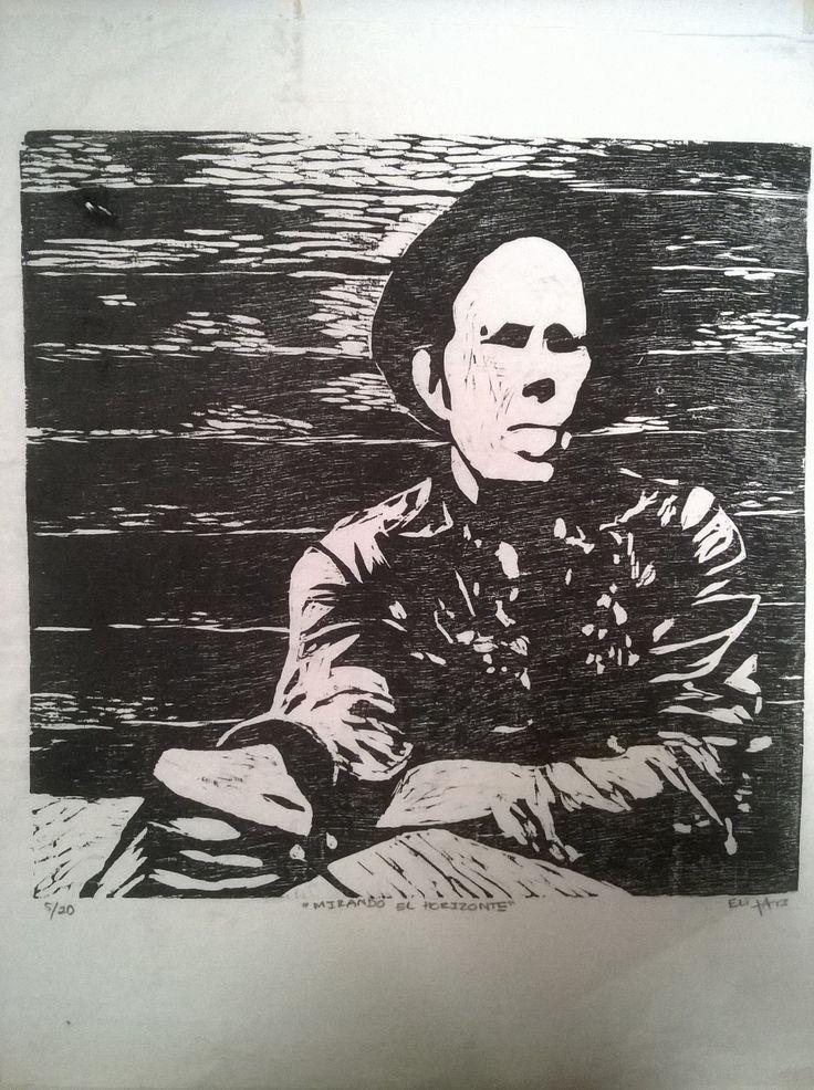 ¨Mirando al horizonte¨ xilografia Grabado en madera Tom Waits