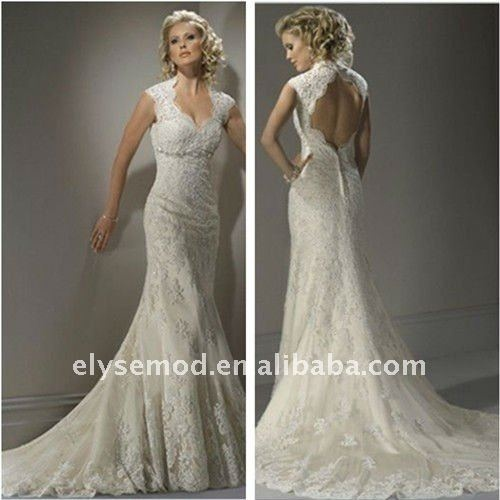 Lace with Keyhole Back Wedding Dress – fashion dresses
