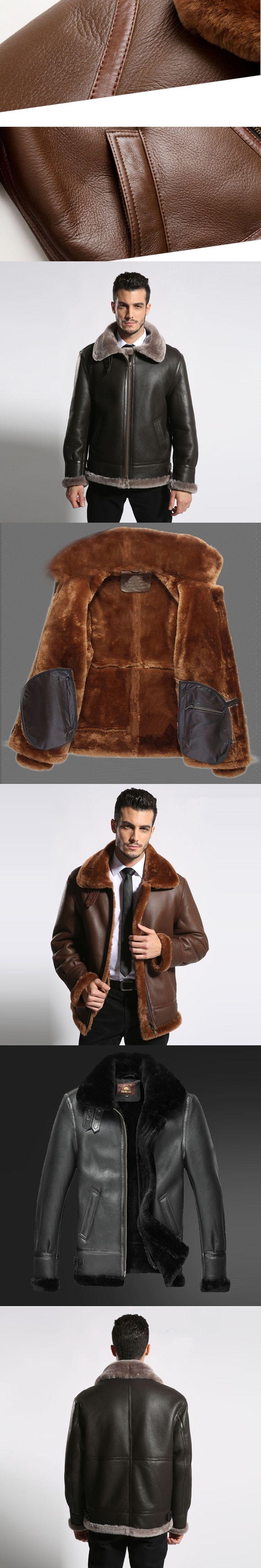 Men's Shearling Jacket  Australian Sheep Skin Outerwear Men Flight Jacket Genuine Leather Pilot Leather Jacket  TJ42