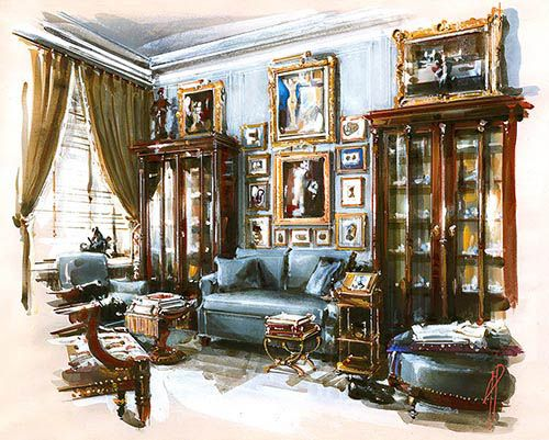 Interior Handmade Painting Classic Rendered Perspectives